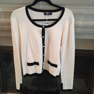 NWT Zara Pearl Cardigan Sweater Cream and Black